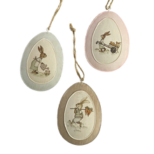 Three Pastel Eggs with Rabbit Images