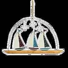 Three spotty sailing boats hanging decoration.