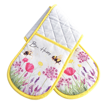 Oven gloves on there own with bee pattern