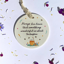 four bee circular sentiments with cute wording