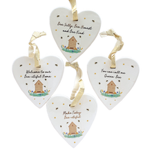 four bee heart sentiments with cute wording sentiment