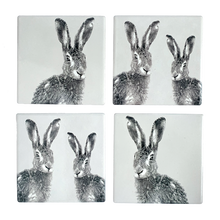 Set of Four Ceramic Hare Coasters with Two Designs