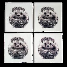 Set of Four Ceramic Hedgehog Coasters