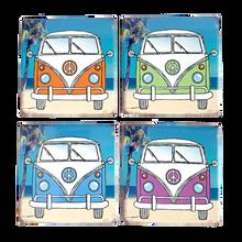 Set of Four Ceramic Camper Coasters with Four Designs