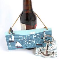 Ship's anchor bottle opener with coast-to-coast box