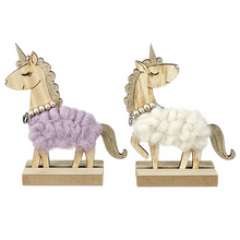 Two Woolly Standing Unicorns Lilac and White