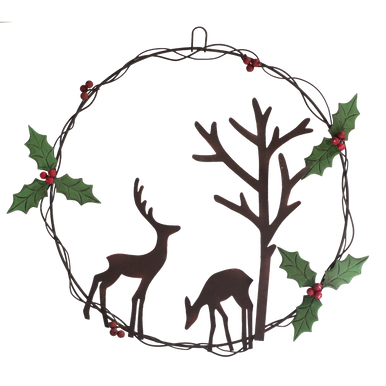 two rustic stag next to a tree in a wreath surrounded by holly