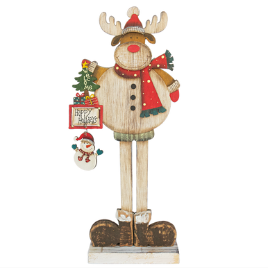 Tall Standing Reindeer holding a sign and snowman