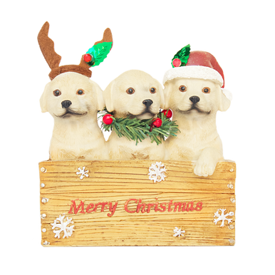 Three festive puppies in a crate