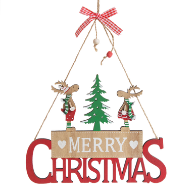 Sign with two dressed deers standing either side of a tree and on the wording 'Merry Christmas'