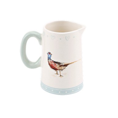 Little Jug with duck egg colouring and a little pheasant on either side.