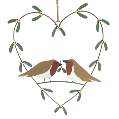 Two Robins in a heart wreath surrounded by mistletoe