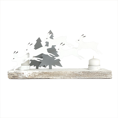 Pack of leaping hares candle holder