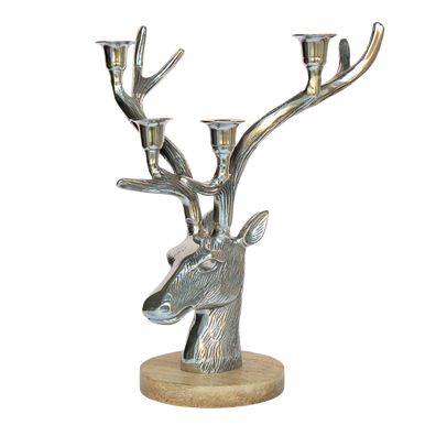 Stags Head Candelabra On a Wood Base