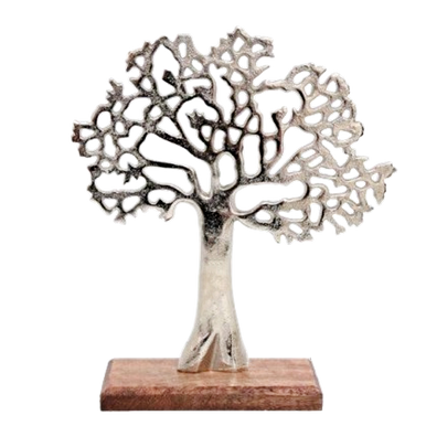 Metal Tree of Life Standing on a Wooden Base.