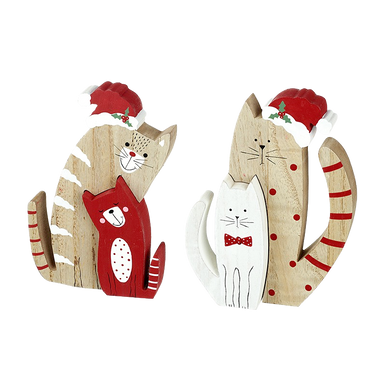 Christmas Wooden Cat Block Decorations where a wood tone larger cat houses a smaller coloured cat that fits into a cutout in his body, each cat in festive red and white colours.