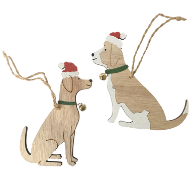 Pair of wooden dog hanging decorations wearing little collars with bells attached and Santa hats