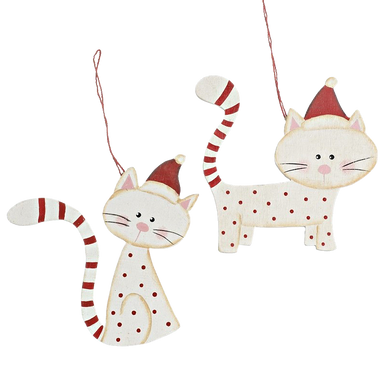 Pair of Red and White Festive Cat hanging decorations, each cat has a striped tail and is wearing a cute Santa hat.