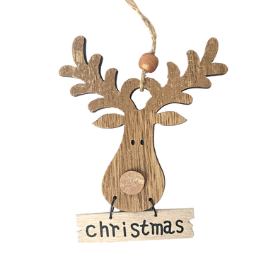 Shiny Copper Antler Reindeer Hanging Sign that says Christmas on the small panel hanging underneath the reindeers face