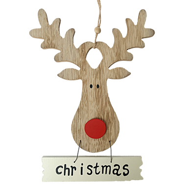 Flat Wooden Red Nosed Rudolph faced sign with the word Christmas written underneath