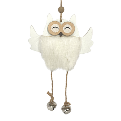 Fluffy-bellied wooden white owl hanging decoration with dangly lets with bells on the end of them
