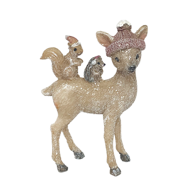 Little deer with a small squirrel and hedgehog on her back, all wearing hats or ear warmers.