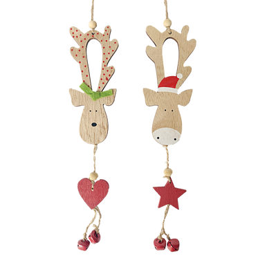 Mr and Mrs Reindeer hanging wooden decorations with heart and star