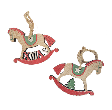 Two Rocking Horse Christmas Hanging Tags for Wrapping and Tree Decorations