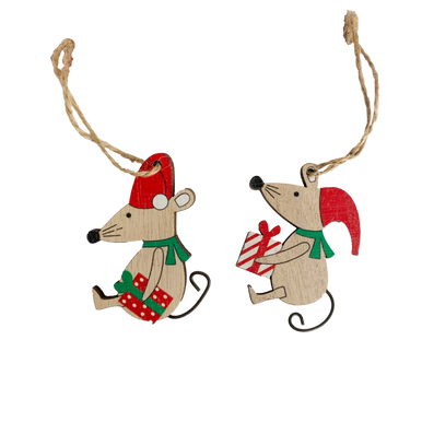 2 Little wooden festive mice with Santa hats holding presents  perfect for hanging or using as tags for wrapping presents