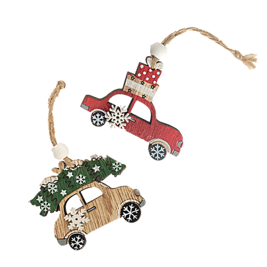 Christmas car hanging tags with presents and tree on top perfect for wrapping presents