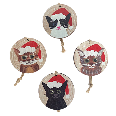 Set of 4 Circular Wooden tags with Cats faces on wearing Santa hats