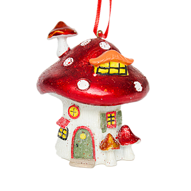 Magical Christmal Toadstool Home Hanging decoration in red and white. with little doors and windows and hung from a red ribbon.