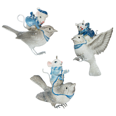 Little Mice Flying on Birds Decorations