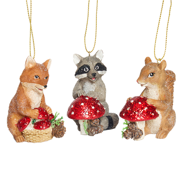 Woodland animals including fox, squirrel and raccoon all holding sparkling toadstools hanging decorations