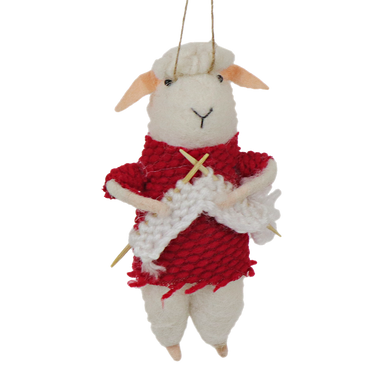 Little felted sheep wearing a red jumper knitting hanging decoration.