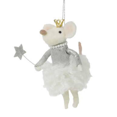 Magical sparkly fairy felt mouse with sparkling star wand and crown hanging decoration