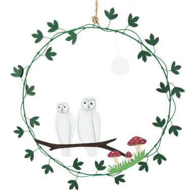 Beautiful Metal Wire Wreath with Ivy decoration surrounding two painted barn owls under a full moon with toadstool and branch
