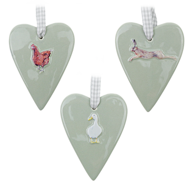 Ceramic duck egg grey/green hanging heart decorations with animals on.