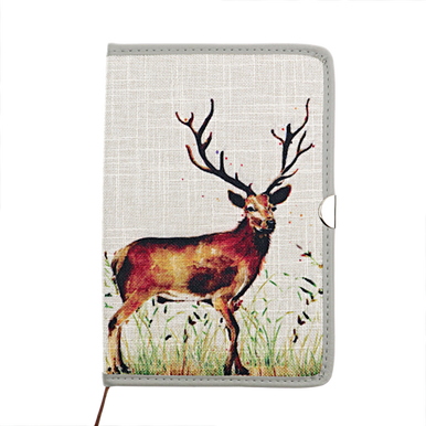 Stag Design Covered A5 Notebook with a beautiful design of a mighty stag on a grassy hue on the front and back