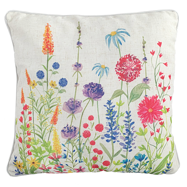 Wild Flower Cushion With beautiful Oranges, Blues, Purples and Pinks.