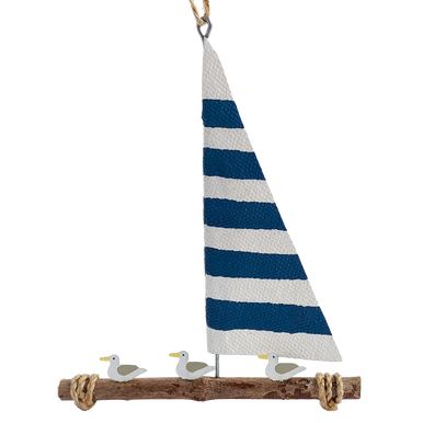 Three gulls sitting on a raft with a nautical blue and white sail, hanging decoration.