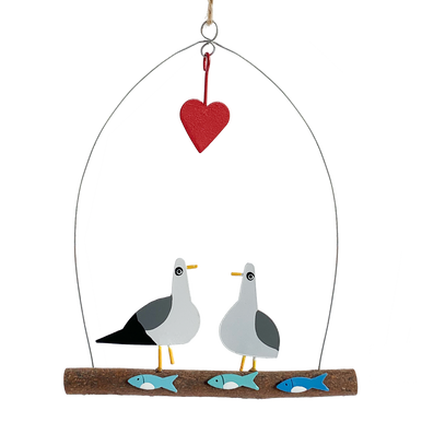 Two gulls sitting on a branch above three fish with a love heart hanging above them.