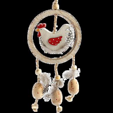 Wooden hen hanging in a hoop with three wooden eggs hanging below.