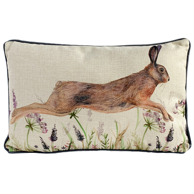 Image of a beautiful leaping hare on a cushion with wonderful wild flowers blow.