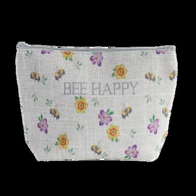 """Bee Happy"" Bee and Floral Design Washbag Zip Up Case"