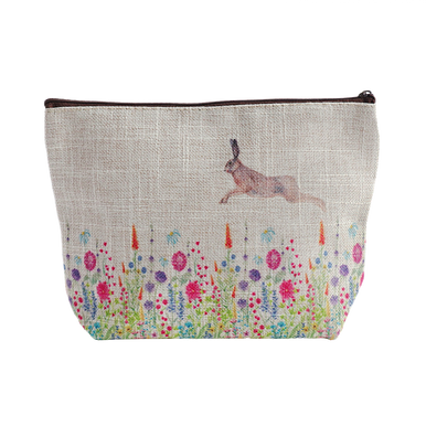 Hare and Floral Design Zipper Fabric Washbag