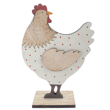 A Standing Wooden Hen Decoration with a Red Polka Dot  Design