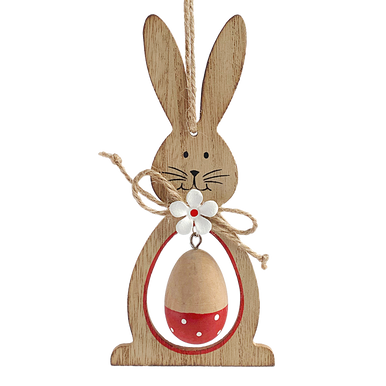 Wooden rabbit with hanging wooden egg in there centre.