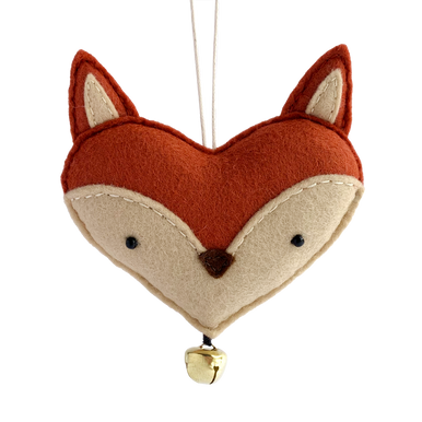 Cute felt fox face hanging decoration.