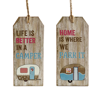 """Hanging Wooden Rustic Caravan Tags in two designs with """"Life is better in a Camper"""" and """"Home is Where you Park it"""" written on them."""